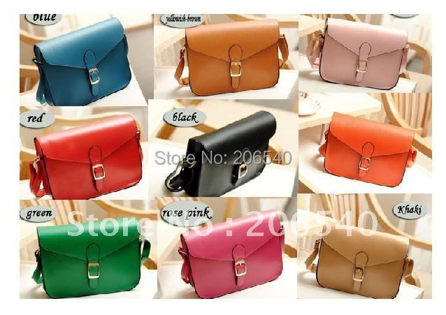 9 colors fashion woman PU Square Handbag Satchel Messager Shoulder Purse Bag