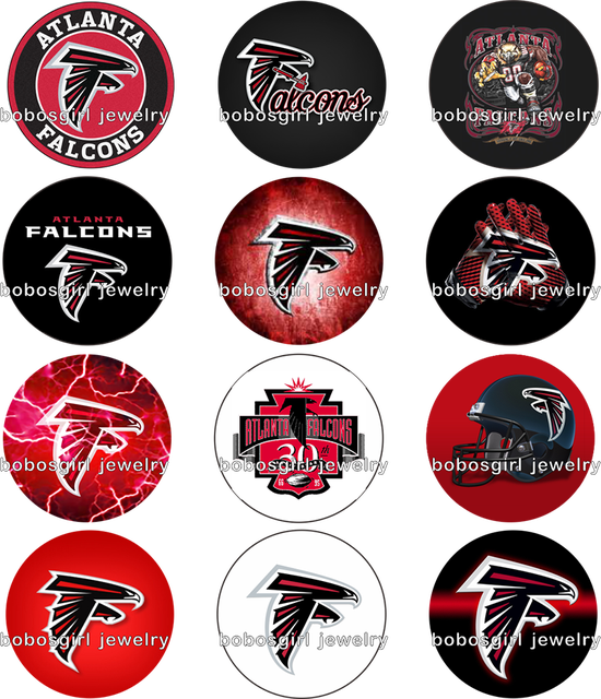 ATLANTA FALCONS glass snap button Jewelry s photo Round cabochon flat back  for BOYS Gl804 324733cece4a