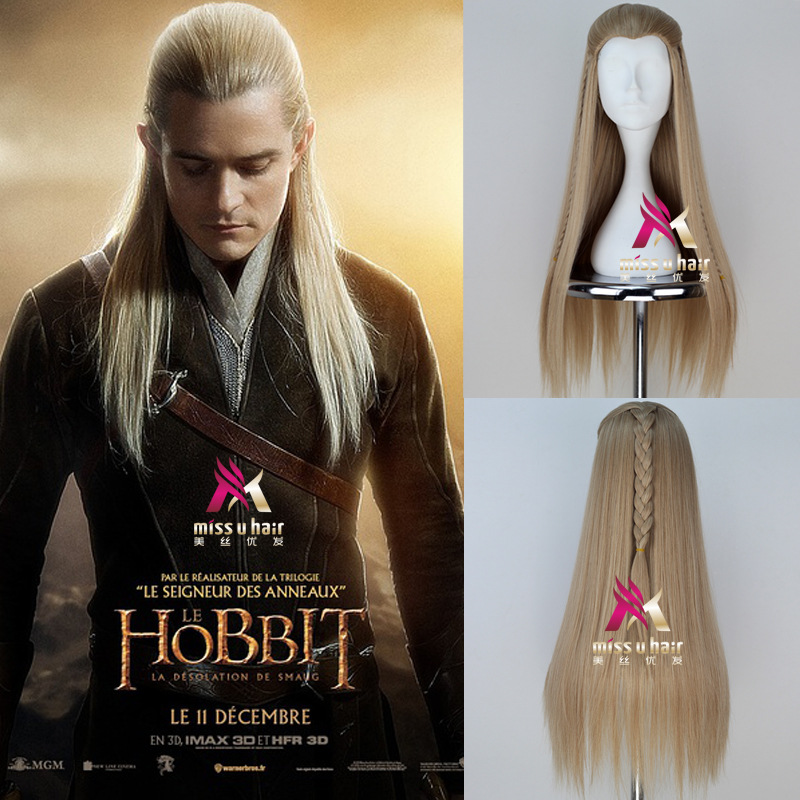Halloween The Hobbit Legolas Greenleaf Gold Long Braided Wig Role Play Hair The Lord Of The Rings Elf  Orlando Bloom Blonde Wig