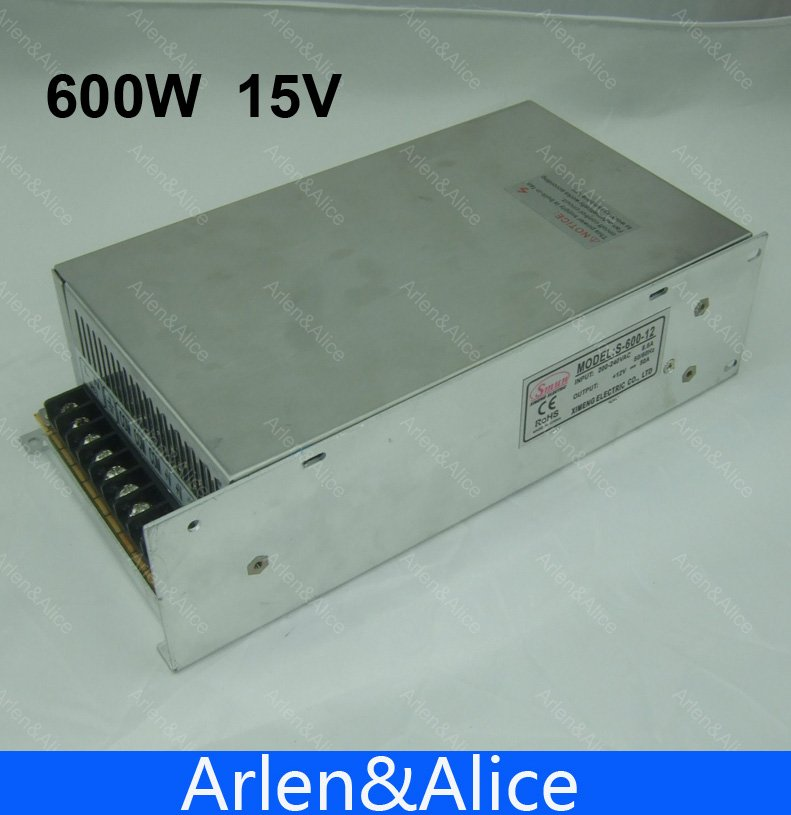 600W 15V 40A 220V input Single Output Switching power supply for LED Strip light AC to DC smps 15v 600w switching power supply 15v 40a single output ajustable 50 60hz ac to dc industrial power supplies s 600 15
