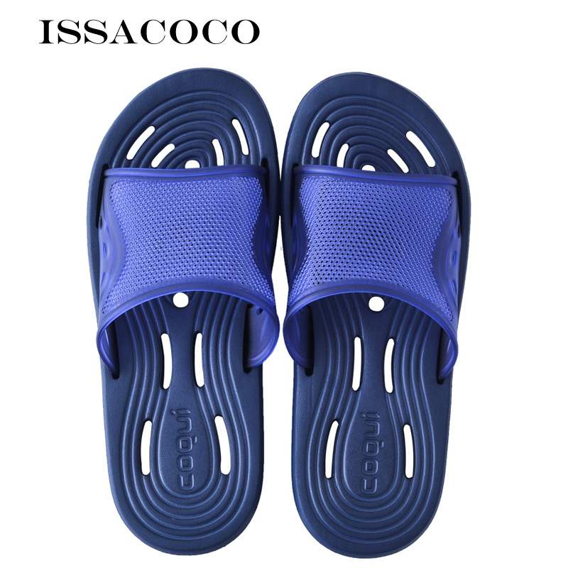 ISSACOCO Men's Slippers Bathroom Leaking Water Non slip Home Slippers Beach Slippers Pantuflas Terlik Chinelos EU Size 44 47|Slippers| |  - AliExpress
