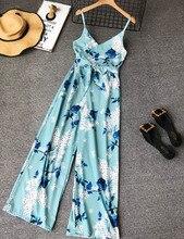NiceMix 2019 Floral Summer Jumpsuits Elegant Women Jumpsuit Chiffon High Waist Overalls Backless Romper Beach Sexy Bodysuit