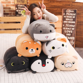 60cm 90cm big plush cat dog toy stuffed animal soft doll Hamster Shiba Inu Penguin plush pillow cushion gift for children friend stuffed toy