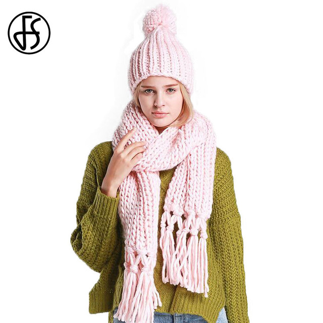9bf5f5949f5 FS Winter Hat Scarf Set Girls Pom Pom Beanies Two Pieces Knit Wool Hats  Solid Color With Tassel Oversized Thicken Warm Caps