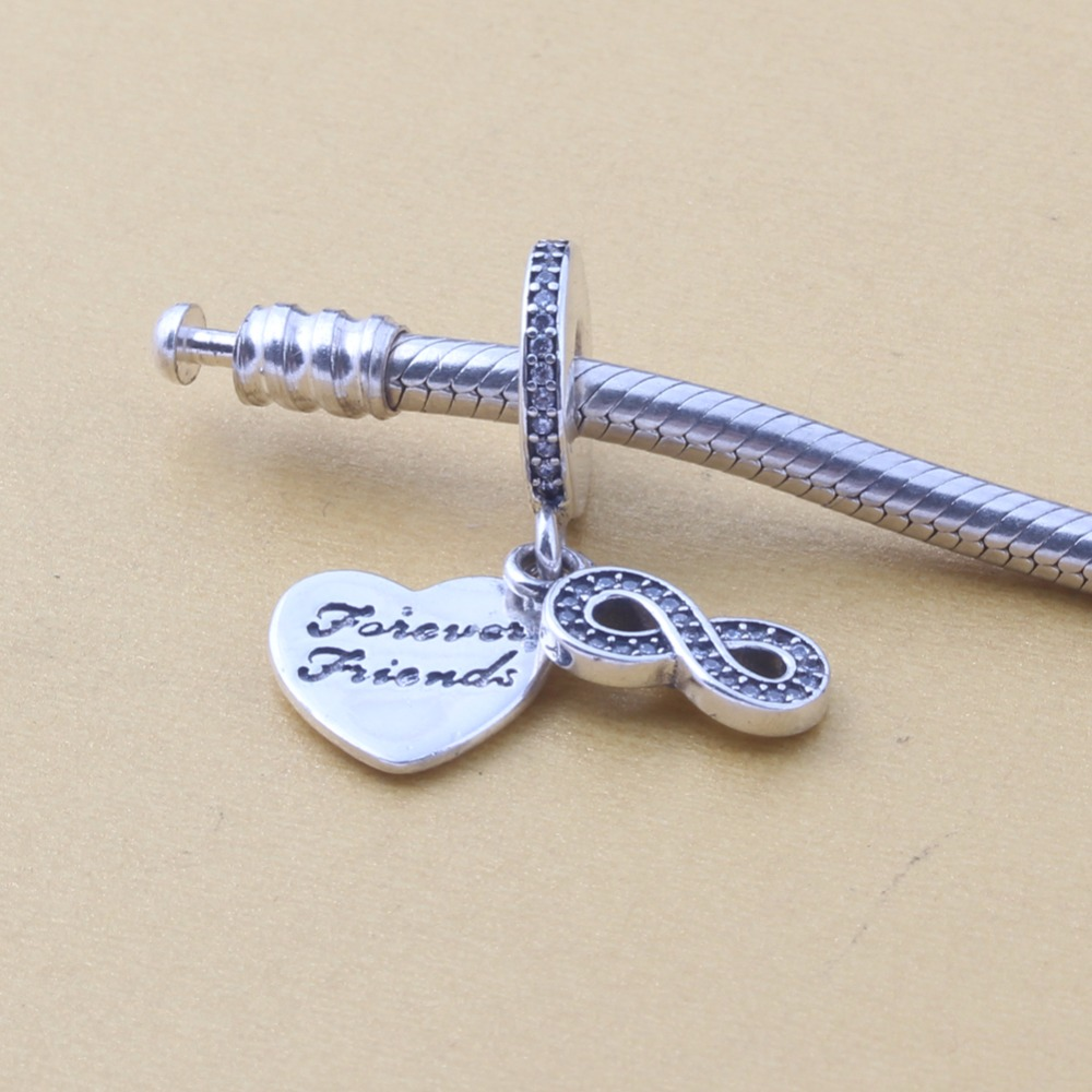 ZMZY Original 925 Sterling Silver Charm Forever Friends Heart Silver Pendants CZ Beads For Pandora Charms Bracelets Accessories