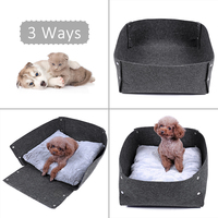 PAWZRoad 3in1 Pet Bed Dog Cat Felt Bed Multifunction Antibacterial Dog Mat Puppy kitten Cushion Sofa Collapsible Durable Kennel