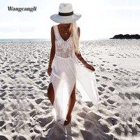Wangcangli Europe And America Loose Waist The New Style Beach Vocation Tassel Blouse Chiffon Long Splicing