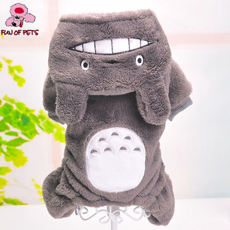 2017 High Quality Fleece Grey Totoro Warm Hoody Suite Dog Jumpsuits for Pet Dogs Cosplay Dog Clothes Pets Suppliers