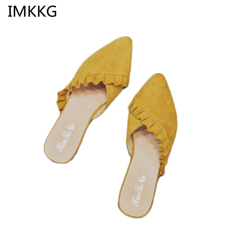 5131bc24f1f20 New 2018 Pointed Toe Women Mules Suede Leather Flat Shoes Women Pleated  Women Summer Shoes flats Mujer Q254