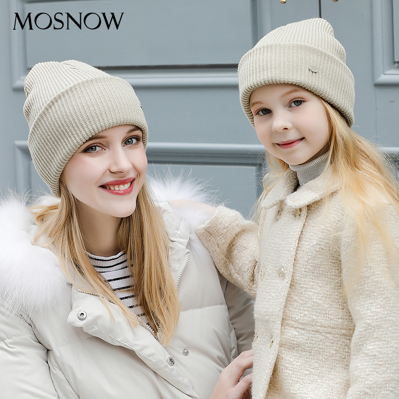 Women's Hats Children Cotton Warm Beanie Mother and Child Fashion Caps 2018 Winter Knitted Hat Female Skullies Beanies Unisex