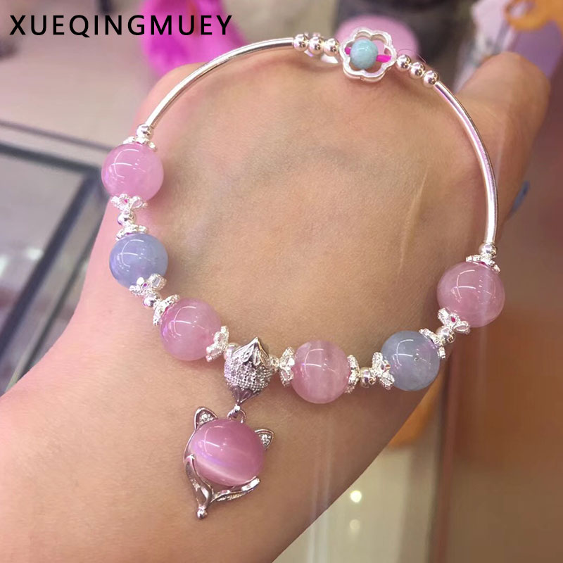 Fox Pendant 925 Sterling Silver Natural Aquamarines And Madagascar powder crystal Bracelet with Women Thai Silver Gift Jewelry