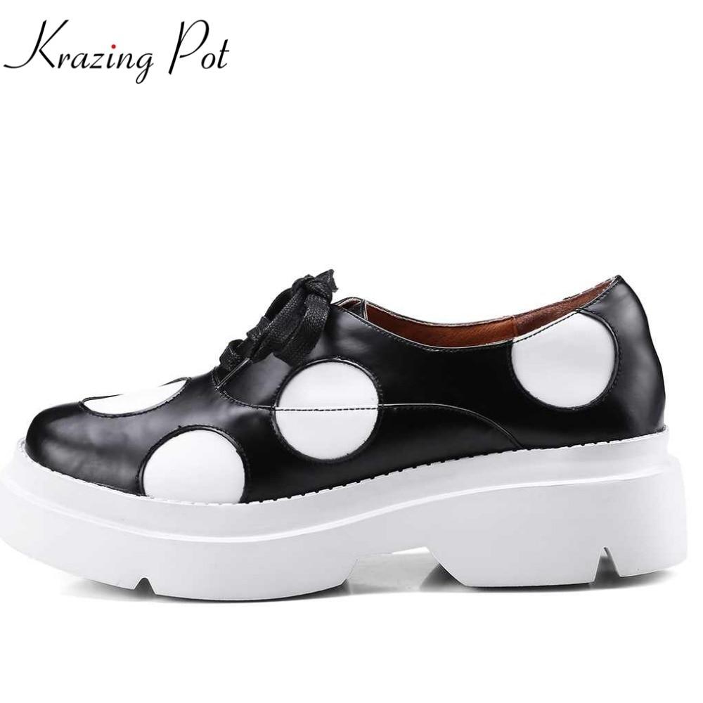 Здесь продается  Krazing pot 2018 square toe cow leather circle print lace up med heel women pumps leisure office preppy style woman pumps L18  Обувь