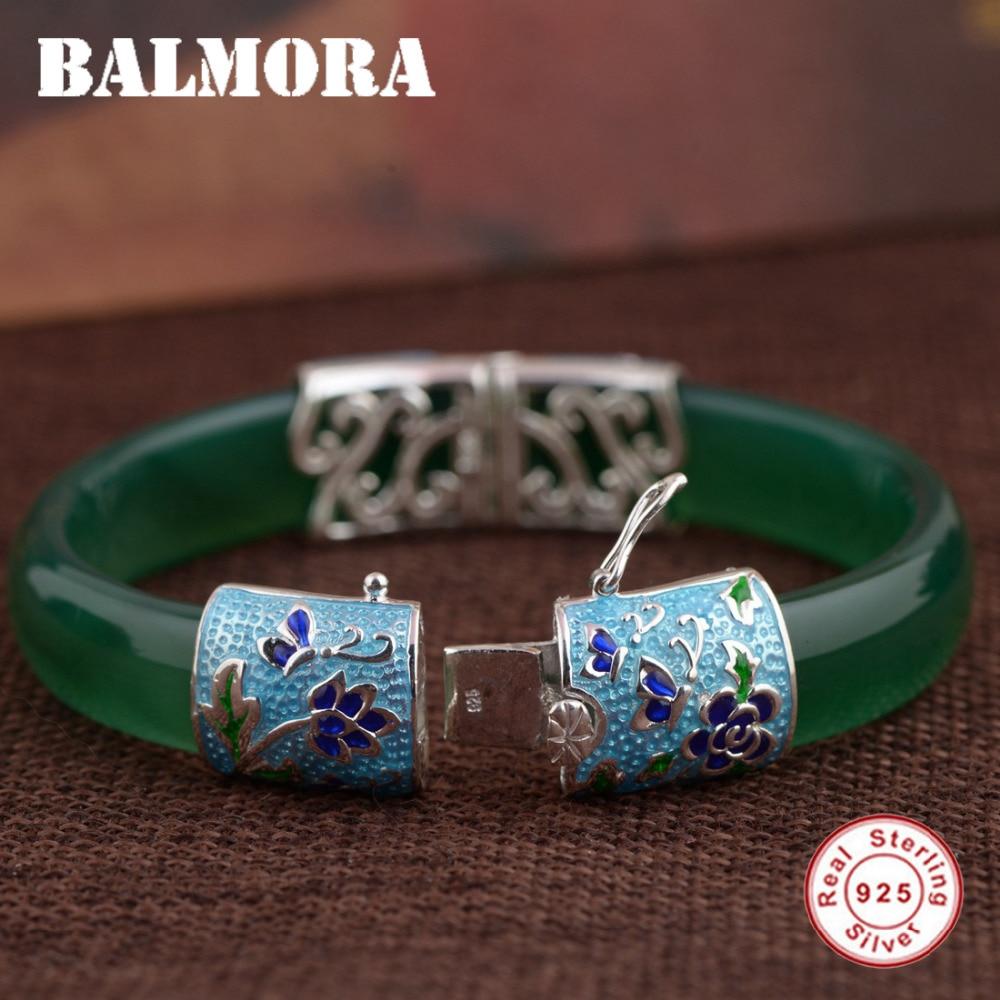BALMORA 925 Sterling Silver Butterfly & Flower Bangles for Women Gift Vintage Silver Jewelry About 18cm Bracelet Pulsera MN50091
