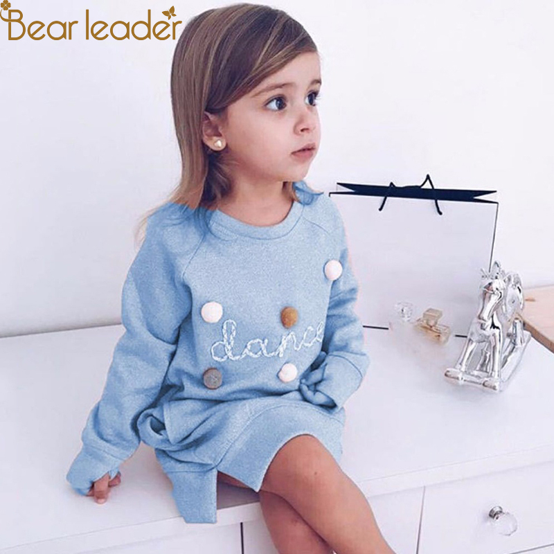 Bear Leader Autumn Winter Cartoon Letter Embroidery Sweatshirt Girl Fashion Long Hoodie Dress Pullover Moletom Feminina 2-6years