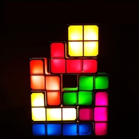 Colorful DIY Tetris Puzzle Light Stackable LED Table Lamp Baby Colorful Brick Toy Constructible Block Night Light Retro Game