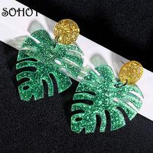 SOHOT – boucles d'oreilles pendantes en forme de feuille de Monstera, grande taille, vert brillant, tendance, Unique, charmant, plage, mode, bijoux, cadeau pour femmes, nouvelle collection