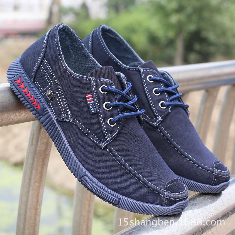 Denim Primavera Verano Nueva Zapatillas Zapatos azul Calzado Cordones Negro Transpirables Casuales Hombres gris De Lona 2018 Con qtv1wH