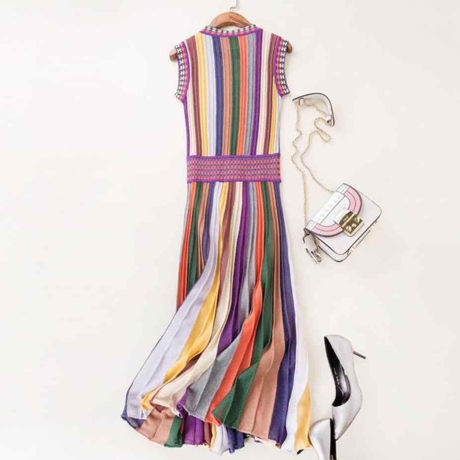 2020 yaz moda kadınlar örme elbise gökkuşağı çizgili o-boyun kolsuz slim yüksek bel pilili elbise