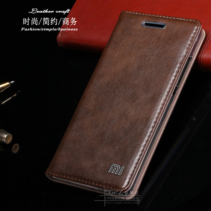 High quality Original brand 100% real genuine leather flip cover case for Xiaomi Redmi Note 2 phone cases free shipping