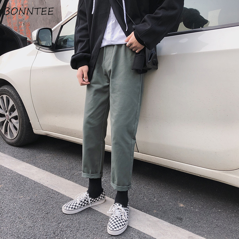Pants Men Drawstring Leisure Full Length Mid Males Korean Style Trousers Mens High Quality Hot Sale Comfortable Daily Chic Pant