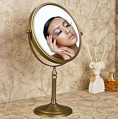 8 inch Antique Brass Bathroom framed mirrors Decorative bath mirrors Cosmetic makeup mirrors 700brass bathroom mirrors hzj01 solid brass