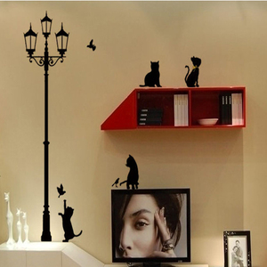 Image 3 - Popular Ancient Lamp Cats and Birds Wall Sticker Wall Mural Home Decor Room Kids Decals Wallpaper