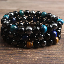 LanLi 8mm fashion Jewelry Tiger Eyes Black Onyx hematite interval beads bracelet Suitable for self - use gifts
