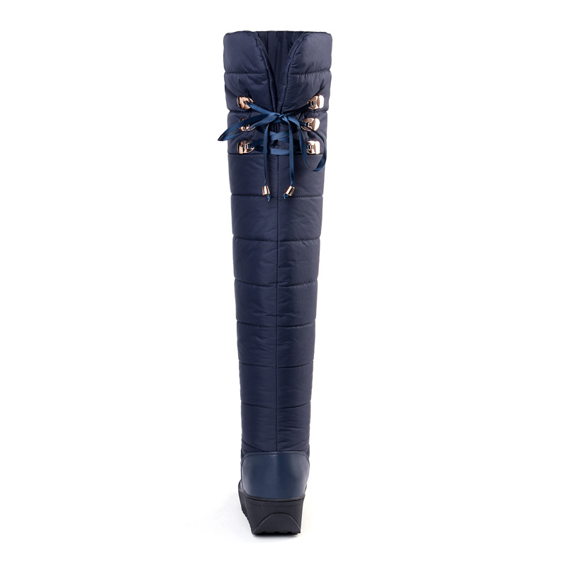 Down Thigh High Snow Boots Women Warm Winter Woman Flat Platform Shoes A312 Fashion Ladies Black Blue Over The Knee Winter Boots-in Over-the-Knee Boots from Shoes    3