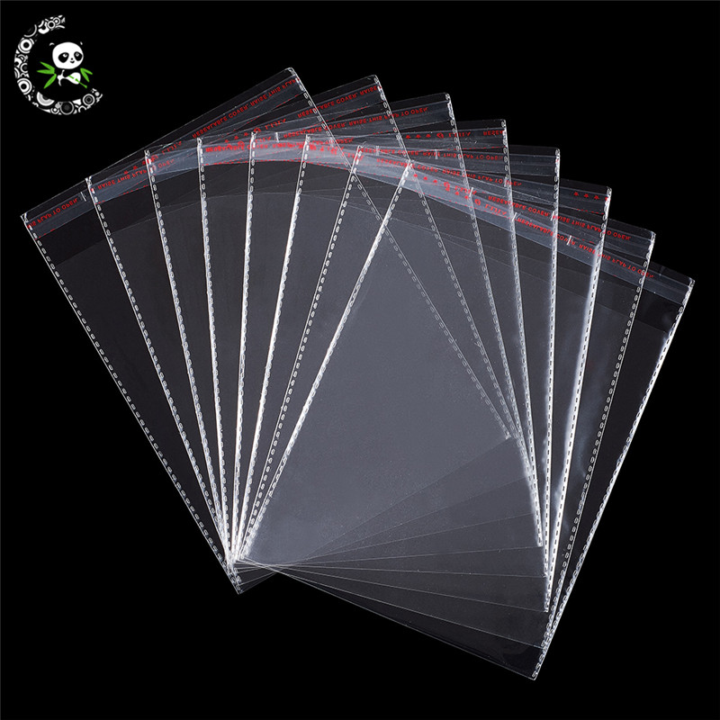 100pcs Rectangle Clear OPP Cellophane Bags 195x140mm Unilateral Thickness: 0.07mm