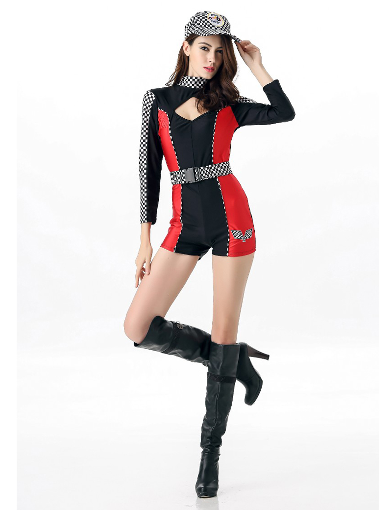 MOONIGHT M L XL Sexy Miss Super Car Racer Racing Costume Driver Grid Girl Prix Fancy Costume Jumpsuits+Hat+Belt