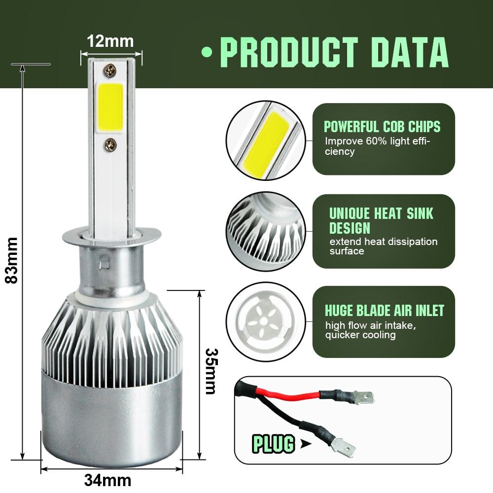 Liplasting High Power 200W 20000LM H1 6500K White LED Light Super Bright Headlight Vehicle Car High Low Beam Bulbs Kit