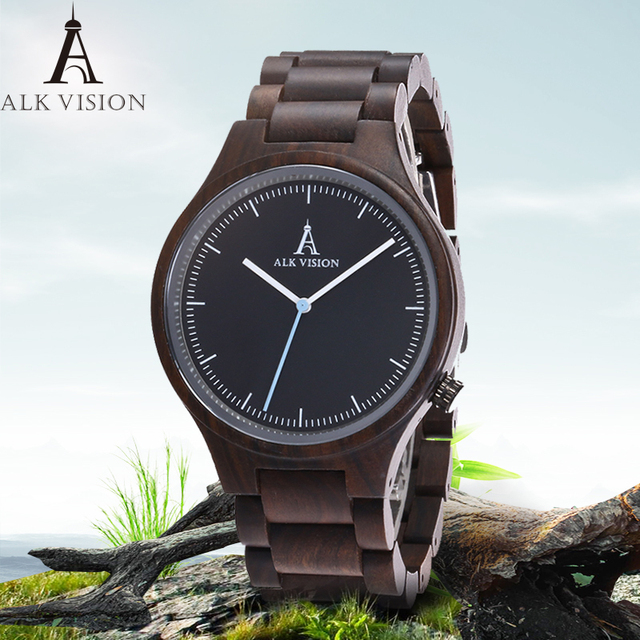 ALK Vision Mens Wood Watch Black Women Watches Couples Clock Real Wooden Watches