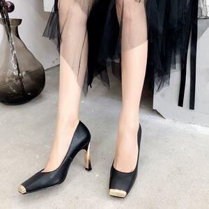 Image 4 - ALLBITEFO ขนาด: 33 41 ของแท้หนังสแควร์ toe ผู้หญิงส้นสูงรองเท้าโลหะ toe รองเท้าส้นสูงฤดูใบไม้ผลิผู้หญิงปั๊ม party ผู้หญิงรองเท้า
