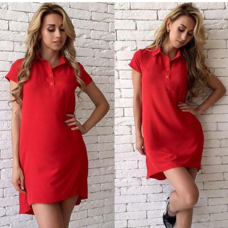 Fashion Women's Summer Lapel A-Line Mini Dress Solid color casual short-sleeved elegant ladies slim dress Fashion pocket dress