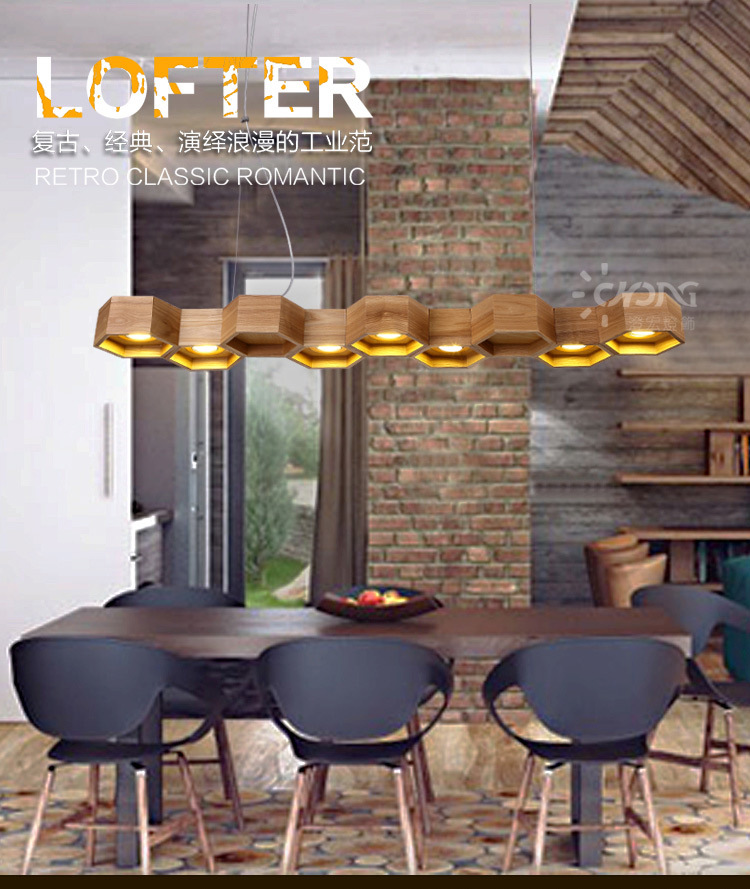 Modern Art Contracted Creative Personality Vintage Wooden Honeycomb Pendant Light Living Room Decoration Lamp Free Shipping