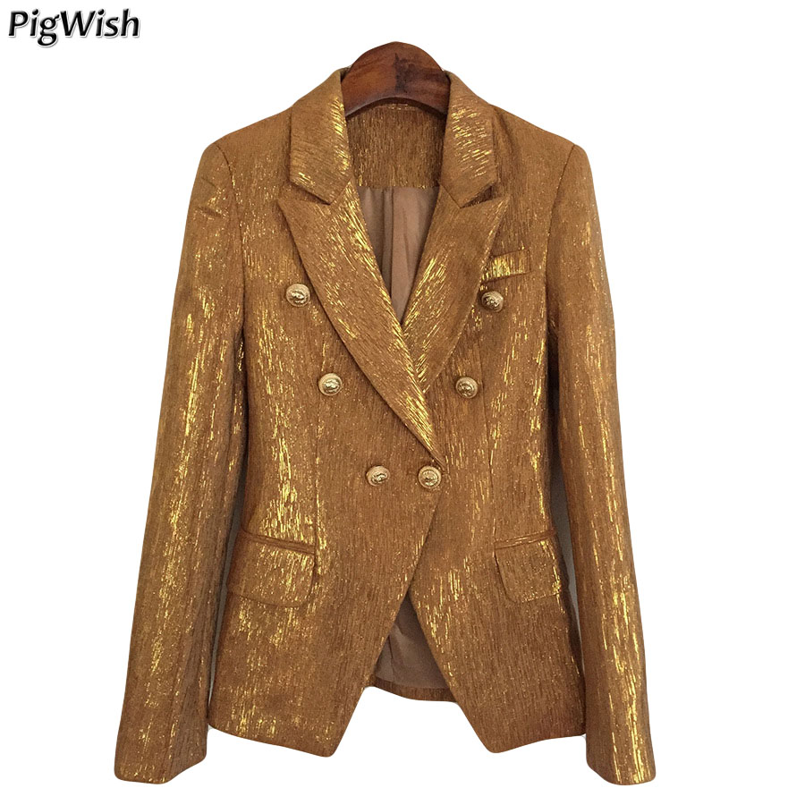 Woman Autumn Coat Lion Metal Buttons Double Breasted Gold Yellow Blazers Suits Formal Blazer Feminino Jacket Outerwear Tops
