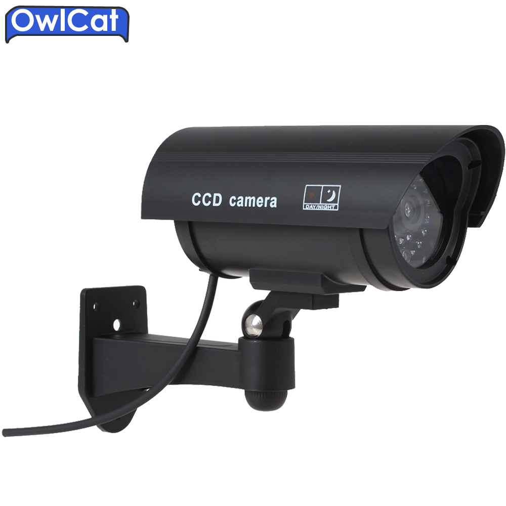 OwlCat Security CCTV Dummy Camera Emulational Camera IR Bullet Waterproof Outdoor Fake Camera For Home Security IR Flash image