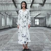 Summer women Japanese kimono clothes full sleeve long style deep v neck sexy loose printed kimono dress AA3193 F