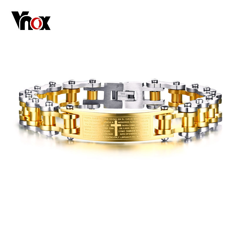 Vnox Punk Biker Chain Stainless Steel Bracelet For Men Bangle Engraved Cross Bible Religion Christ Prayer Male Jewelry powder for ricoh imagio sp311 n for lanier sp320 dn for ricoh aficio sp c 312 oem reset copier powder free shipping
