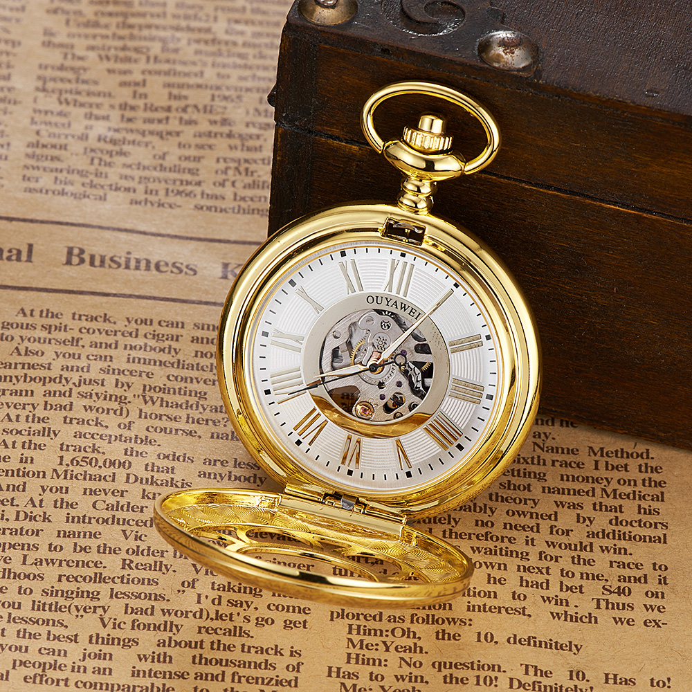 Top Brand OYW Mechanical Pocket Watch Skeleton Style Watch Men Male Pocket fob Watches Steampunk Gold Steel Case Hombre Relogios