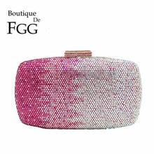 Multi Pink Crystal Rhinestones Women Evening Clutch Bag Bridal Wedding Clutches Party Dinner Prom Chain Shoulder Handbag Purse