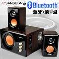 2016 Novo Sistema De Áudio Sansui Bluetooth Versão 2.1 Brilho De Madeira Subwoofer Ativo de Som Do Computador Preto E Branco