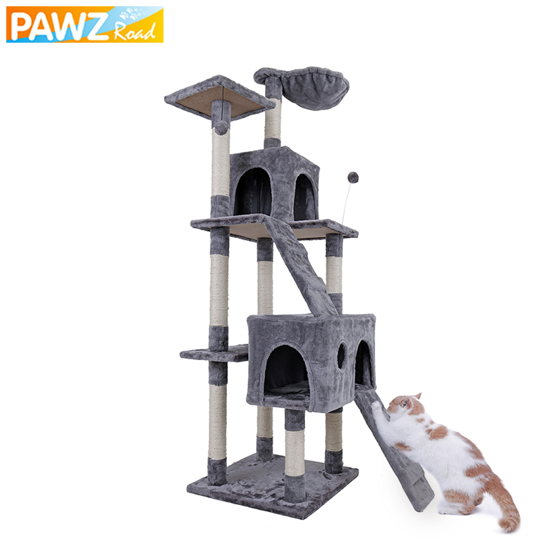 US Shipping Luxury Multi-layer Cat Condo Bed House For Cat Durable Sisal Scratching Post Cat Tree With Hammock Cat Furniture