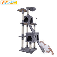US Shipping Luxury Multi-layer Cat Condo Bed House For Cat Durable Sisal Scratching Post Cat Tree With Hammock Cat Furniture(China)