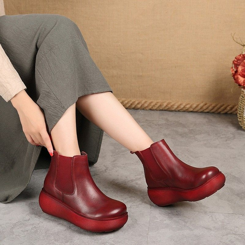 2017 Winter and Autumn Women Boots Genuine Leather Ankle Boots Original Retro Waterproof Boots A10105 autumn and winter new personality retro cowhide ankle boots handsome female waterproof platform genuine leather women shoes 9731