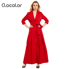 Clocolor Summer Casual Jumpsuit High-Waist Full Length Pleated Patchwork Party Beach Elegant Loose Red Jumpsuit Women Jumpsuit(China)