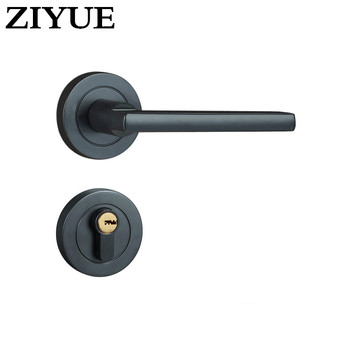 Free Shipping Black High Quality Zinc Alloy Split Lock Bedroom Handle Lock Interior Door Handle Lock with Key