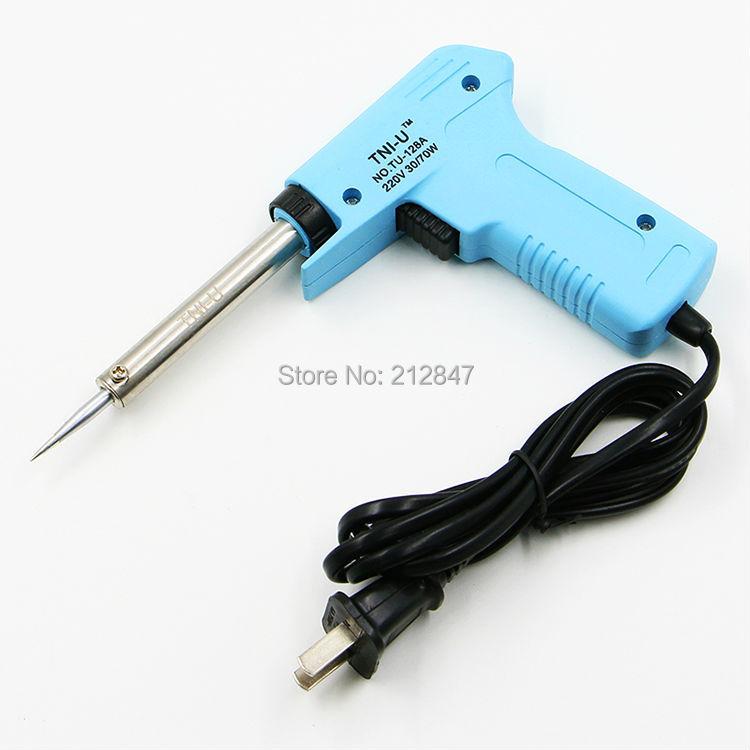 AC 220V 30W 70W Enchufe plano de 2 clavijas Pistola de soldador con mango azul bebé (calefacción externa)