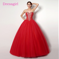 Red Cheap Quinceanera Dresses 2017 Ball Gown Sweetheart Floor Length Tulle Sequins Crytals Sweet 16 Dresses