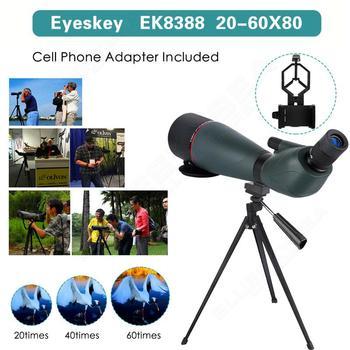Eyeskey 20-60x80mm Zoom Spotting Scope Hunting Telescope Alignment wPhone Adaptor Soft Case Outdoor EYOYO